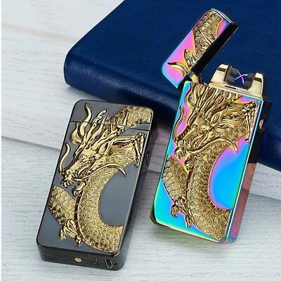USB Rechargeable Electric Lighter Pulse Arc Windproof Flameless Metal Lighters