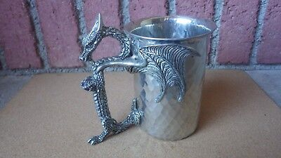 Fellowship Foundry Large Dragon Mystic Stein Hammered Pewter Blue Crystal 22 Oz