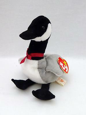 "1998 Ty BEANIE BABIES ORIGINAL Gray/Black LOOSY Soft Plush 6.5"" Goose Toy w/ Tag"