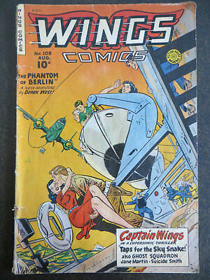 Wings Comics #108 1949 Fiction House Phantom of Berlin Captain GOLDEN AGE RARE