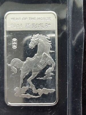 2014 Year Of The Horse Chinese Zodiac 1/2 Troy Oz .999 Fine Silver Bar