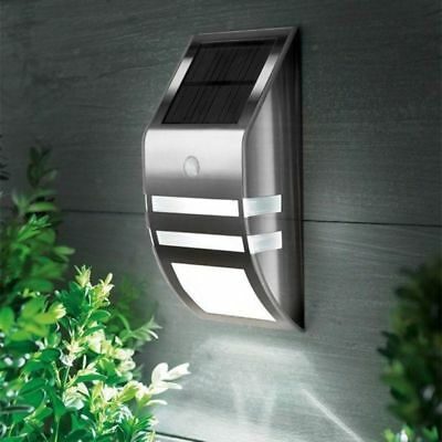 Solar Power 2 LED Wall Light PIR Motion Sensor Security Outside Patio Lamp Cool