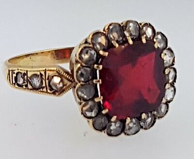 Antique Victorian Red Garnet 3 Cts+Old Rose Cut Diamonds 1 Ct~14K Gold Ring~Wow!