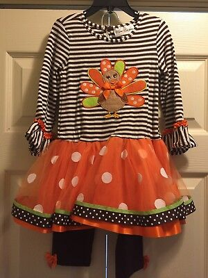 Rare Editions Thanksgiving Outfit Tutu Dress Leggings 3 3T