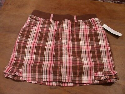girls size 6 scooter skort pull on elastic waist brown and pink plaid Toughskins