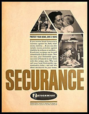 1960 Nationwide Insurance Company Vintage PRINT AD Life Income House Security