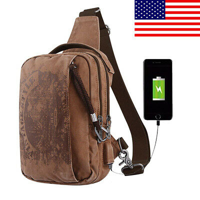 Anti-Theft One Strap Crossbody Shoulder with USB Charging Port Canvas Backpack