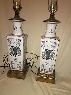 Pr. Chinese Export Porcelain Armorial Lamps White Gold Flowers Lions