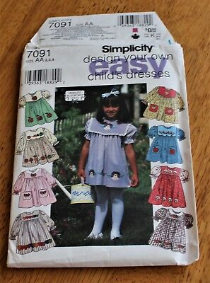 Simplicity Pattern #7091 CHILD'S DRESS - 8 DIFFERENT STYLES - SIZE 2,3,4 - UNCUT