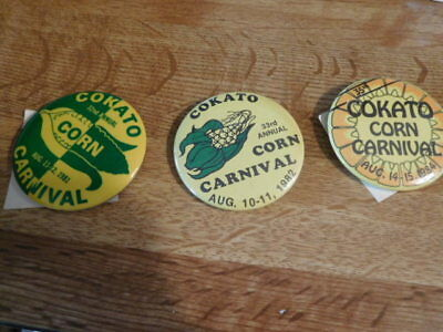 3 Cokato corn carnival pins from the 80's
