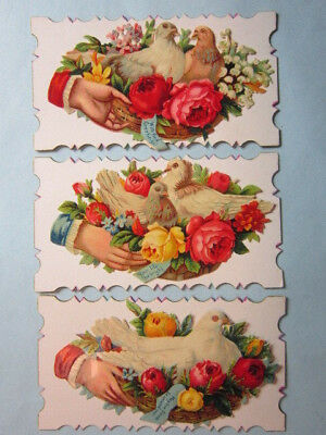 3 - Antique Decorative Greeting Cards, Applique Embossed Pictures, Doves, Roses