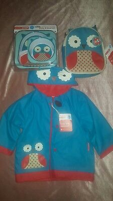 skip hop plate & lunch bag & jacket set (owl )