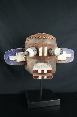 19# OLD! From Late 19th To Early 20th C. LEATHER - Wooden Kachina HELMET, Hopi