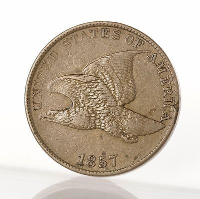 Raw 1857 Flying Eagle 1C Uncertified Ungraded US Mint Copper Small Cent Penny