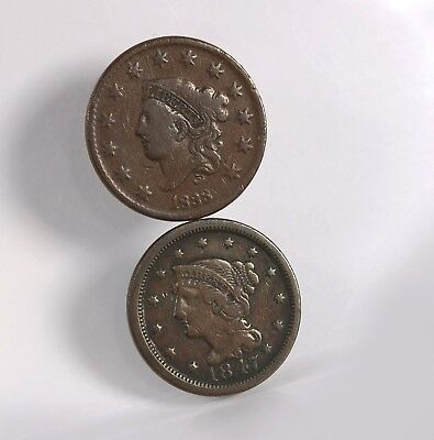 2 Pack US Large Cents 1838 1847 Uncertified Circulated US Mint Copper Coin Lot