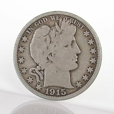 Raw 1915 Barber 50C Uncertified Ungraded Circ P Mint US Silver Half Dollar Coin