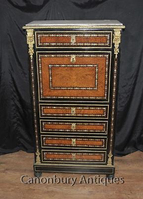 Antique Secretaire Desk - French Napoleon III Inlaid Cabinet Mother Of Pearl Inl