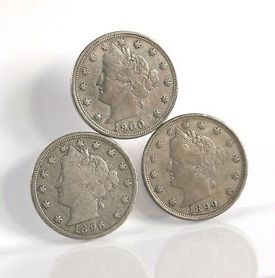 "Raw 3 Pack Liberty Head "" V Nickel "" 5C 1896 1899 1900 Philly Mint US Coin Lot"