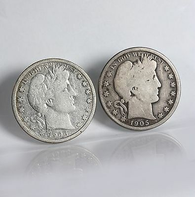 Raw Barber 50C 2 Pack 1906-D 1905-O Circ Lot Of Silver Half Dollar US Coins