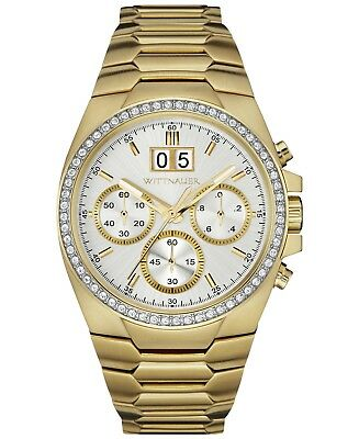 Wittnauer Men's WN3055 Quartz Chronograph Crystal Accents Gold-Tone 41mm Watch