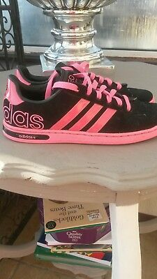 addias black n pink trainers size 51/2