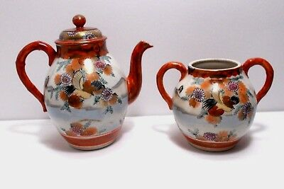 Antique Japanese Kutani Porcelain Tea Pot-Sugar Bowl SET Signed