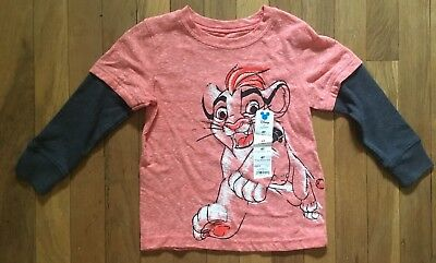 Boys Size 4T The Lion Guard Long Sleeve Layered T Shirt Tee - Simba Red Gray