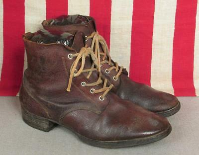 Vintage 1940s Japanese Leather Military Work Boots Hobnail Stud Soles WWII Rare