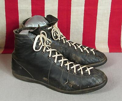 Vintage 1930s Wilson Black Leather Basketball Sneakers Athletic Shoes Boxing 9.5