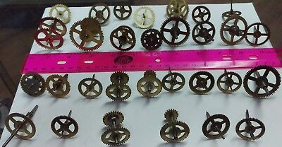 Clock movement lot of 30 Brass gears wheels for parts Steampunk art crafts