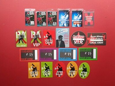 BRYAN ADAMS Backstage pass collection,72 different,Rare old Originals