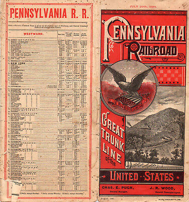 Pennsylvania RR PRR Public Timetable July 29 1884