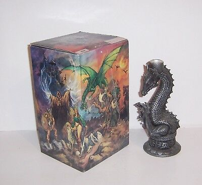 """Myths & Legends 8"""" Pewter Dragon Candlestick Candle Holder 97 WUI 97WUI 2001"""