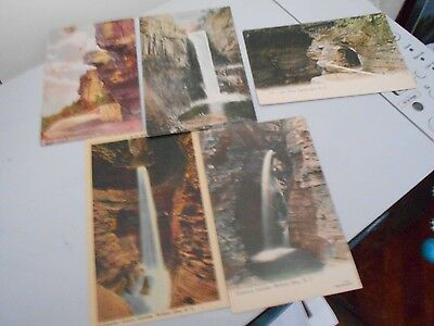 5 old upstate New York postcards -- caves and rock formations