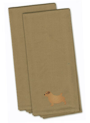 Norfolk Terrier Tan Embroidered Kitchen Towel Set of 2