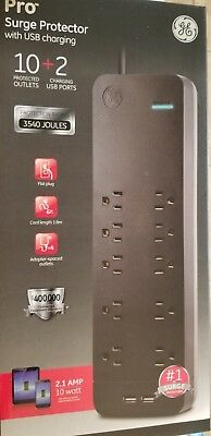 GE UltraPro Surge Protector 10 Outlets 2 USB Ports 4ft. Cord Black.