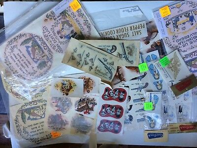 Vintage ceramic decals, water slide transfers, large collection.