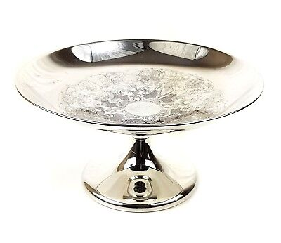 Superb VINTAGE SILVER PLATED FOOTED BOWL TAZZA FRUIT BASKET SERVING DISH