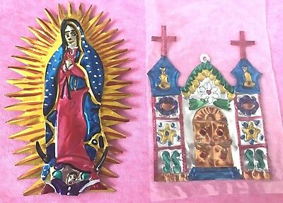 Vintage Mexican Tins, Lot of 2: Virgin de Guadalupe And Church Building.