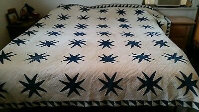 Indigo Blue! LARGE Handmade ANTIQUE Quilt STAR Pattern White King