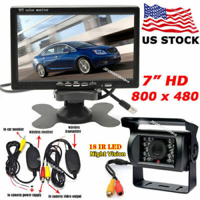 "7"" Wireless TFT LCD Monitor + Night Vision Backup Rear View Camera RV Bus Truck"