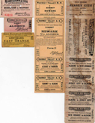 5 Railroad Tickets Rahway Valley RR Morristown & Erie RR New York & New OrangeRR
