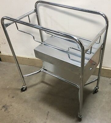 Stainless Medical Hospital Dental Lab Cart Rolling Trolley w/ Single Drawer