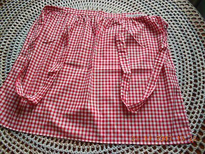 Waist Apron In Red And White Gingham - Hand Made In Lancashire