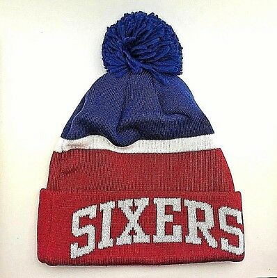 PHILADELPHIA 76ERS ALLEN Iverson Nba Black Vtg Knit Beanie Winter ... 9cc051a73726