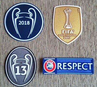 Parches Campeón Champions 2018 + FIFA 2017 + 13 copas + RESPECT para Real Madrid