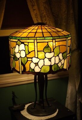HUGE RARE SUESS leaded glass lamp-Handel Tiffany Duffner arts & crafts era