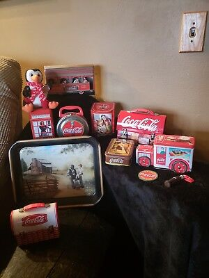 Lot of 12 Coca Cola Collectors Tins, Lunchboxes, Tray, Truck, Penguin