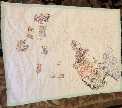 """VTG HAND MADE BABY BLANKET CRIB QUILT EMBROIDERED 40 X 30"""" Disney Characters"""
