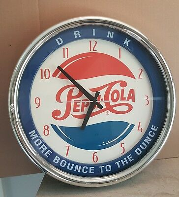 """DRINK PEPSI-COLA More Bounce To The Ounce WALL CLOCK ~ Approx 15"""" D ~ Working"""